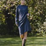 MAX VOLMÁRY- Kleid mit Stehkragen marine- bis Gr.48